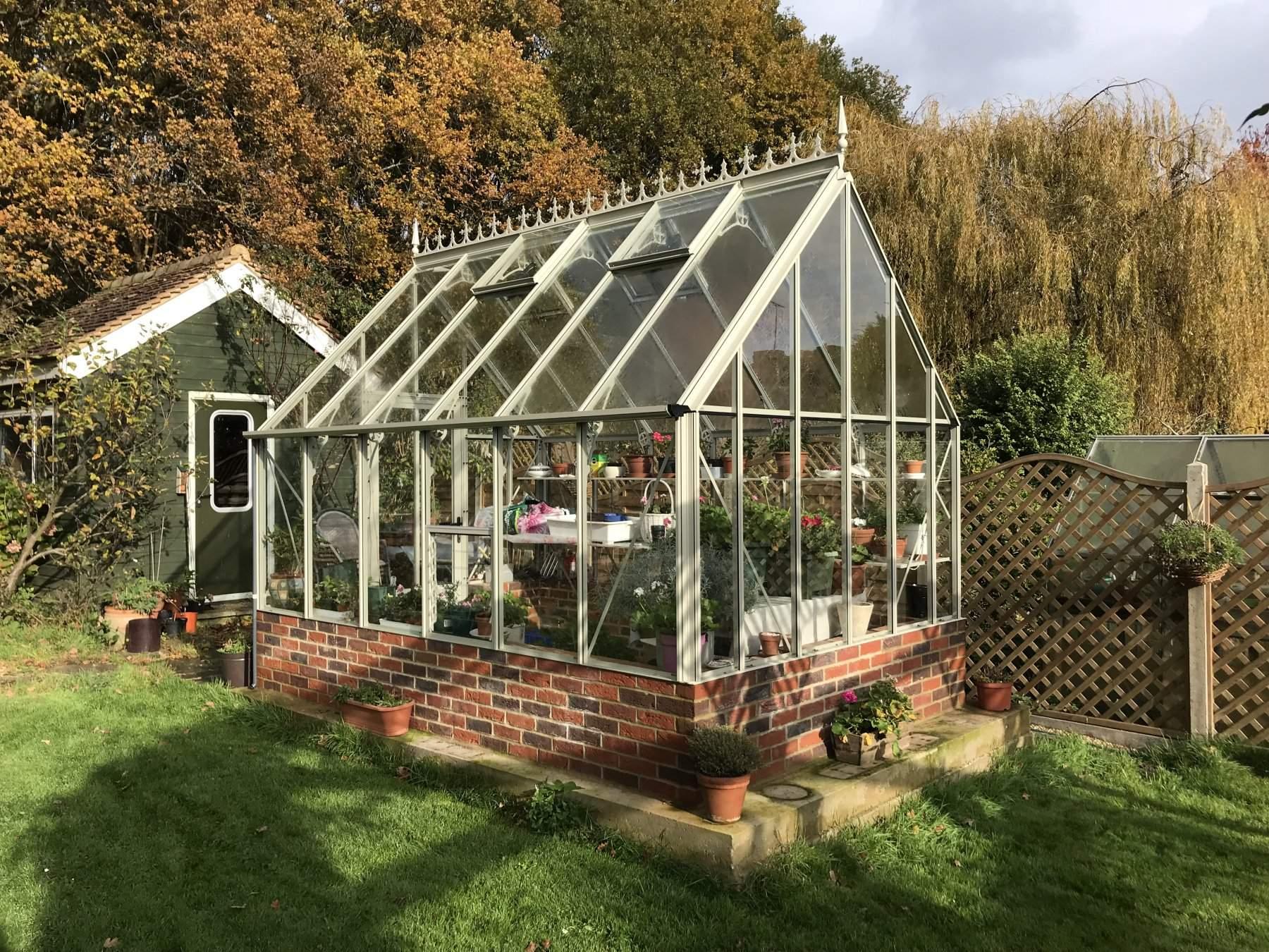 Victorian Rushmoor Pastel Sage Greenhouse 8 6 X 12 8 Robinsons Greenhouses Backyard greenhouse brown county