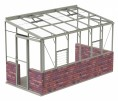 6ft Wide LEAN-TO Pastel Sage Greenhouse