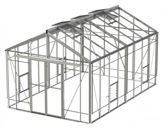 Rosette Reach Plain Aluminium Greenhouse