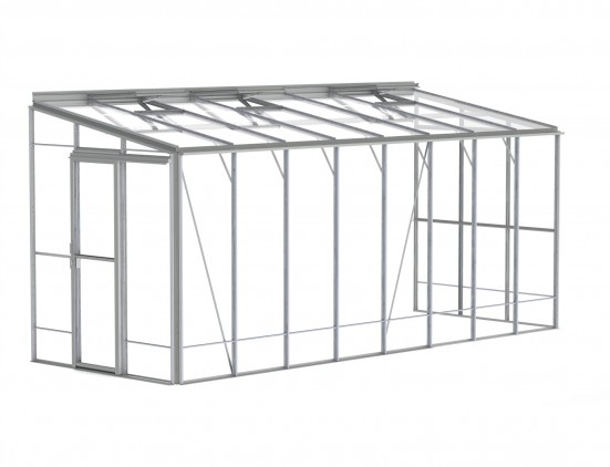 6ft Wide LEAN-TO Plain Aluminium Greenhouse
