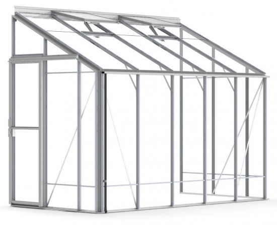 5ft Wide LEAN-TO Plain Aluminium Greenhouse