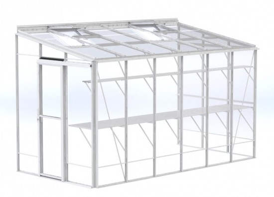 6ft Wide LEAN-TO White Greenhouse