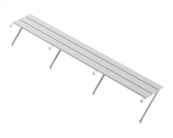 Slatted Shelf 20ft Plain Aluminium