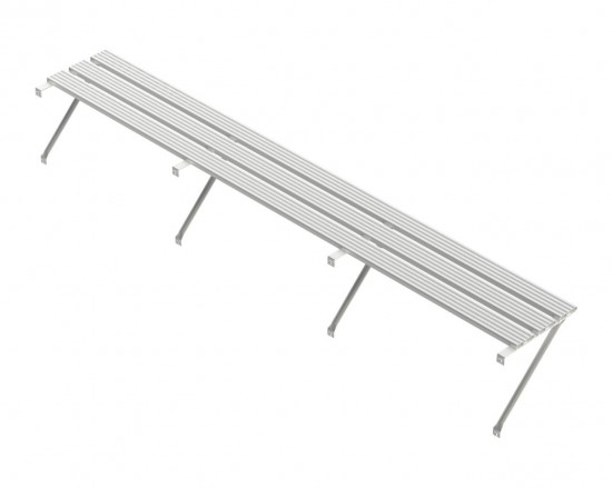 Slatted Shelf 22ft Plain Aluminium